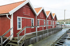 Lake sheds in Kladesholmen Royalty Free Stock Image