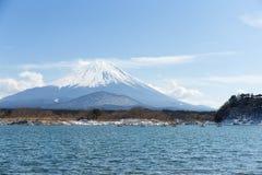 Lake Shoji and Fuji. With blue sky Stock Images