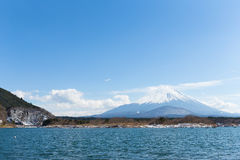 Lake Shoji and Fujisan. With clear blue sky Stock Images