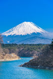 Lake Shoji with Mt. Fuji in sunny day Stock Photo