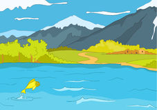 Lake Shore. Cartoon Background. Vector Illustration EPS 10 royalty free illustration