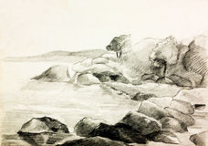 Lake shore. Original pencil or drawing charcoal and hand drawn painting or working sketch of a quiet lake and shore with trees and rocks stock illustration