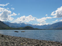 Lake Shore. Rocky lake shore in New Zealand, South Island Stock Photo