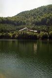 Lake shore cabin. Petrimanu lake shore cabin from  Latorita Valley, Romania Stock Photo