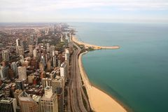 Lake shore of Chicago. View from the Hancock Center. It shows Lake Michigan and the Gold Coast. The beach is Oak Street Beach Royalty Free Stock Photo