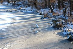 The lake shore covered with ice. Royalty Free Stock Photography