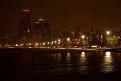 Lake shore drive. Night photo from north side of Lake Shore Drive, Chicago royalty free stock photography