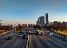 Lake Shore Drive and the Gold Coast skyline. royalty free stock photography