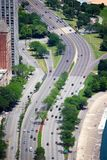 Lake Shore Drive. Chicago, USA. Aerial view of city street traffic. Lake Shore Drive Stock Images