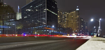 Lake Shore Drive. A long-exposure shot of Lake Shore Drive in Chicago, Illinois royalty free stock images