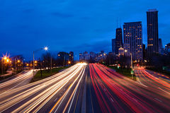Lake Shore Drive at night Chicago, Illinois Royalty Free Stock Photography