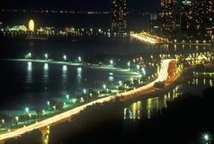 Lake Shore Drive at Night, Chicago, Illinois Stock Photography