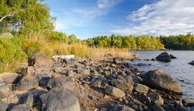 Lake shore. Early autumn typical scenery on Swedish lake coast Royalty Free Stock Image