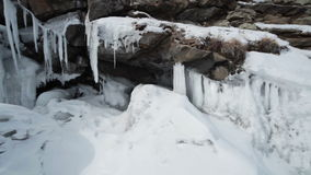 The Lake Shore With Icicles Stock Images