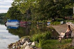Lake shore in Maine Stock Image