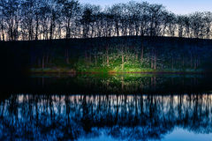 Lake shore. At night with light painting Royalty Free Stock Photography