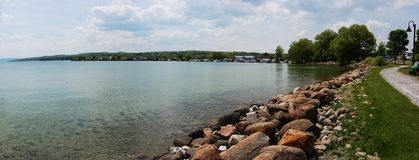 Lake Shore panorama. North end of Canandaigua Lake, Canandaigua, Finger Lakes Region, New York State, USA Stock Photos