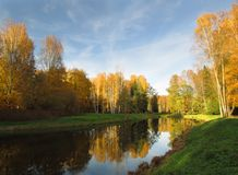 Lake shore in park with calm water and reflection in October royalty free stock photo