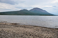 Lake shore on the Putorana plateau. Stock Images