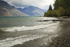 Lake shore Queenstown New Zealand Royalty Free Stock Image