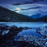 Lake shore with stones near pine forest on mountain at night Royalty Free Stock Photo