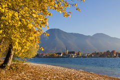 Lake shore tegernsee in autumn with view to rottach-egern, upper Royalty Free Stock Images