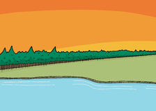 Lake Shoreline Near Woods. Cartoon wilderness background scene of lake and forest Royalty Free Stock Photo