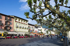 Lake side in Ascona, Ticino, Switzerland Royalty Free Stock Image