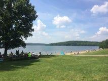 Lake side beach. Moraine state Park Pennsylvania Royalty Free Stock Photography