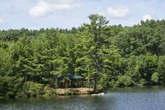 Lake side. A pavilion by the lake in Massachusetts Stock Photography