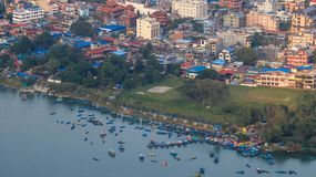 Lake side of Pokhara. As seen from World Peace Pagoda in Nepal royalty free stock photo