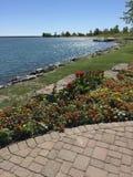 Beautiful Lake side. Pretty colourful lakeside water Royalty Free Stock Photo