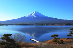 Lake side view of Mountain Fuji, Japan. The mountain Fuji and a small deck, view from the lake side of Kawaguchi-ko, Japan Stock Photos
