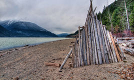 Lake side wooden hut Stock Image