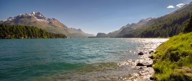 Lake Silvaplana or Silvaplanersee; Lej da Silvaplauna royalty free stock photography