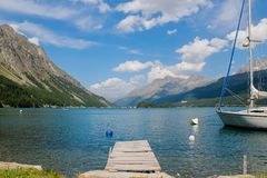 Lake Silvaplana in Switzerland Stock Images