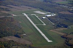 Lake Simcoe Regional Airport. Aerial view of the Lake Simcoe Regional Airport near Barrie Ontario, Canada Royalty Free Stock Photo