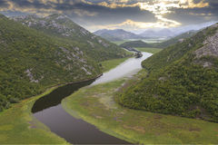 Lake skadar with boat in Montenegro royalty free stock image