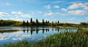 Lake and sky. Reflection in elk island national park, edmonton, alberta Stock Photography