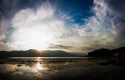 Lake and sky. Blue sky bouncing from lake surface in super wide format Royalty Free Stock Image