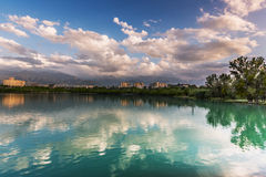 Lake  sky cityscape landscape Royalty Free Stock Photo