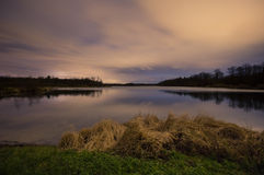 Lake and sky after sunset Royalty Free Stock Photo