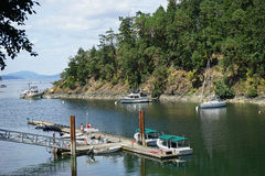 Lake with small boats Royalty Free Stock Photos