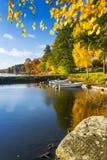 Lake small harbor in autumn Stock Image