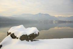 Lake and snow Stock Photo
