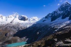 A lake and snow caped mountains in Huascaran National Park. At Huaraz, Peru royalty free stock photos