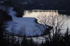 Lake and Snow at Dusk royalty free stock images