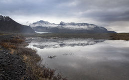 Lake, Snow Mountain, Countryside in Iceland. Royalty Free Stock Image