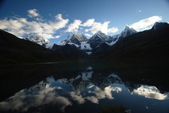 Lake and snow peaks of Peru Royalty Free Stock Images
