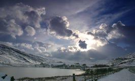 Lake in Snowdonia. Winter scenery Royalty Free Stock Photos